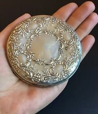 Vintage Towle Sterling Silver Ornate Repousse Hand Pocket Mirror Signed 3""