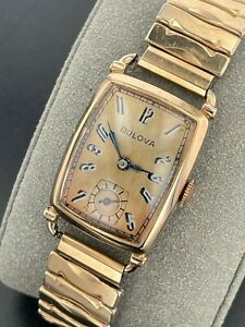 Vintage 1940's Bulova Manual 14K Gold Plated Watch 7AP 17 Jewels New York