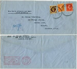 WW2 1943 PRESS PRIORITY 4 LINE CENSOR CHICAGO TRIBUNE from GB LONDON F.S AIRMAIL