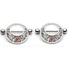 Body AccentzTM Nipple Ring Bars Butterfly Flower Body Jewelry Pair 14 gauge