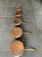 More details for set of 5 vintage french copper tin lined saucepans