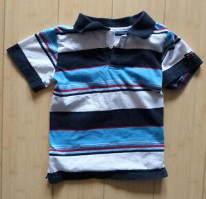 Boy's vintage Bugle Boy striped polo shirt, size 4, blue/white