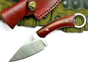 Drop Point Knife Fixed Blade Hunting Survival Tactical 12C27 Steel Wood Handle S