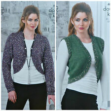 KNITTING PATTERN Ladies Long/Sleeveless Sequin Bolero Cardigan DK & Cosmos 4056