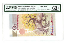 2009 BANCO DE MEXICO PMG 63 EPQ 40TH ANN FABRICA DE BILLIETES SPECIMEN TEST NOTE