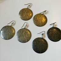 """Bundle / Lot of 3 Pairs Floral Tooled Tin Disc Earrings - 1.6"""""""