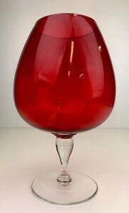 VINTAGE RETRO MID CENTURY RUBY RED ART GLASS PEDESTAL BALLON VASE BOWL MELB