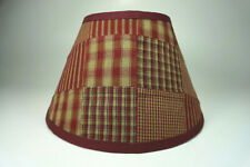 Country Primitive Burgundy Patchwork Quilt Homespun Chimney Lampshade Lamp Shade