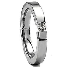 Plain Titanium 5mm TENSION RING with Round 4mm CZ, size 5, in Gift Box