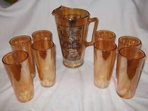 Vtg Jeannette Glass Marigold Orange Carnival 8-Pc Pitcher Tumbler Set