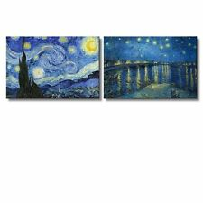 "Starry Night & Over the Rhone River Canvas Prints- 16"" x 24"" x 2 Panels"