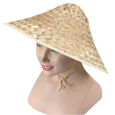Adult Unisex Asian Chinese Straw Coolie Hat Fancy Dress Party Accessory
