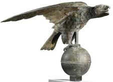 MOLDED COPPER AND ZINC AMERICAN EAGLE PERCHED ON AN ORB, 19TH CENTURY |