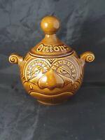 Vintage 2 Face Crying Onion Pot P&K Brown Kitchenalia Ceramic Jar Kensington