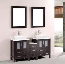 60 in Modern bathroom double vanities cabinet marble top vessel sink w mirror 69