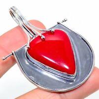"Italian Red Coral Gemstone Ethnic Handmade Gift Jewelry Pendant 2.56"" VK-6070"
