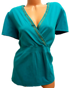 Lane bryant blue gold rivets applique short sleeve stretch surplice top 22/24W