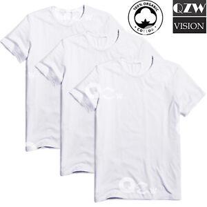 3-6 Pack Mens 100% Cotton Tagless Crew Round T-Shirt Undershirt Tee White New