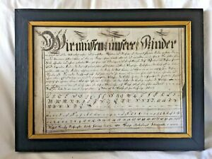 Outstanding PENNSYLVANIA GERMAN School LESSON 2 Pages FRAMED Signed & DATED 1800