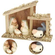 Süße Kinder Holz Krippenstall Weihnachtskrippe 5 Figuren Krippenszene Esel Schaf
