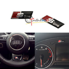 2PCS Sline Slim Aluminum Decal Sticker For Audi Steering Wheel Decoration, etc