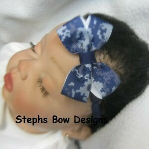 US Navy Digital ACU Camo Dainty Hair Bow Headband FITS Preemie Newborn Toddler