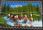 Horses crossing water brushed cotton wall Hanging
