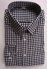 Ex M&S REGULAR FIT BLACK & WHITE GINGHAM 100% PEACHED COTTON SHIRT 14.5-18.5 A3