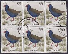 NEW ZEALAND 1988 $5 Bird - Takahe - fine used block of 6, cat NZ$72.........7333