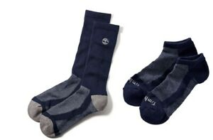 Timberland Men's 2 Pack Moisture Wicking Crew Length or No Show Socks Navy Blue