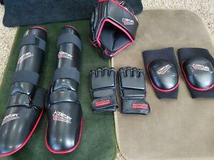NEW! Century MMA Sparring Gear Wrap Gloves Helmet Shin Elbow Martial Arts Blk XL