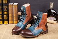 Mens Assorted Colors Lace Up High Top Casual Round Toe Flat Heel Shoes Fashion