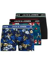 Jack & Jones Mens New 3 Pack Trunks Boxer Shorts Underwear Black Blue Flowers