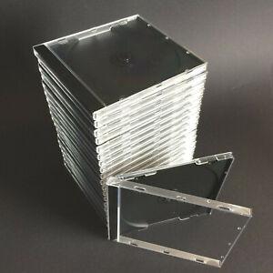 20 St. CD Hülle Leer Hüllen Jewel Case Box DVD klar transparent  / Tray schwarz