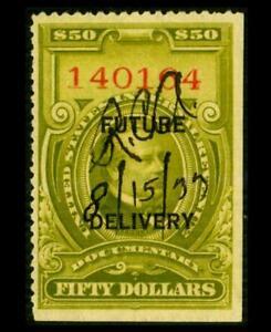 RC17 REVENUE Future Delivery $50 Olive CLEVELAND Manuscript Cxl SEE PHOTOS K-580