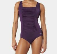 $199 Speedo Women's Purple Ruched Square Neck Shirred One-Piece Swimsuit Size 16