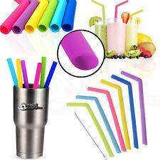 Reusable Straw Silicone Drinking Straws Washable w/Brush UK Eco Friendly Gifts