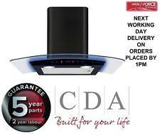 CDA EKP70BL Black 70cm Curved Glass Chinney Hood