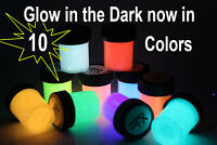 10 GLOW IN THE DARK DAY VISIBLE PAINT X 1/2 OZ FREE MEDIUM AND FREE UV KEY RING