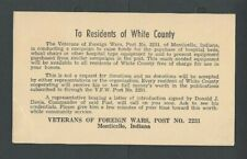 1952 Monticello In By Veterans Of Foreign Wars (Vfw) Seeking Hospital Needs