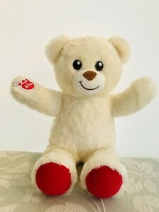 "BUILD A BEAR TEDDY Vanilla White / Red PAW & FEET 15"" ADORABLE!"