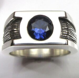 MJG STERLING SILVER MEN'S BAND. 8mm FACETED LAB SAPPHIRE. SZ 10. 21 GRAMS
