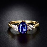Promise Eternity Women Yellow Gold Filled Blue Sapphire Crystal Engagement Ring