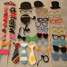58PCS Masks Photo Booth Props Mustache On A Stick Birthday Wedding Party DIY JX
