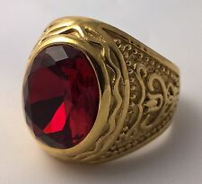 G-Filled 18ct yellow gold simulated Mens garnet ring Gents medieval red oval 8.5