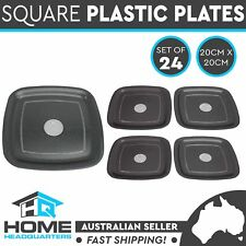24x Plastic Square Dinner Plates Glitter Food Serving Dish Kitchen Dinnerware