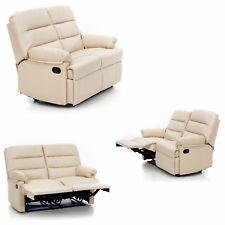 Divano mara 2 posti  relax recliner finta pelle crema imbottito sistema manuale