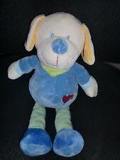 doudou peluche chien bleu vert brodé coeur NICOTOY 33cm