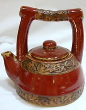 Tea Set Teapot Four 4 Cups Tray Rust Red Earthenware Pottery