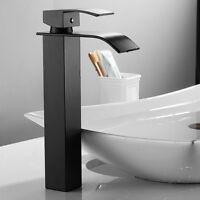 Black Tall Waterfall Bathroom Sink Faucet Basin Stainless Steel Square Mixer Tap
